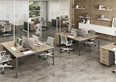 X5 : Bureau avec caisson hauteur bureau